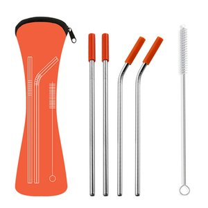 21.5*0.6cm Reusable Stainless Steel Straight Bent Drinking Straws Set with Brush Silicone Tips for Cold Beverage Drink Bar Tools CYZ3124