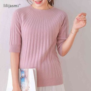100% Wool Women's O-neck Half Sleeve Ribbed Pullover Super Soft Fine Wool Women Umbrella Knitted Tshirt 4 Colors Sweater Fashion