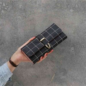 Wallets women's long frosted three fold checkered wallet large capacity multi-function clip zero Clearance 73% off Wholesale