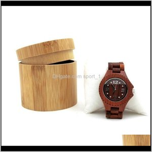 Boxes Bins Housekeeping Organization Home & Garden Drop Delivery 2021 Natural Bamboo Wooden Men Wristwatch Holder Collection Box Jewelry Disp