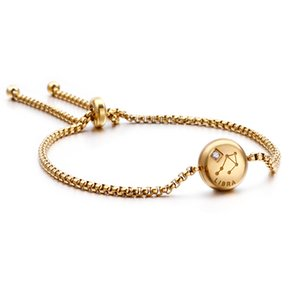 Zodiac sign chain bracelet stainless steel gold plated jewelry birthday gifts scorpio 12 constellations adjustable link