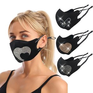 US STOCK Fashion Designer Masks Rhinestones love heart Patterns Rope Stretchable Mask Breathable Anti Dust Black Facemask For Adults