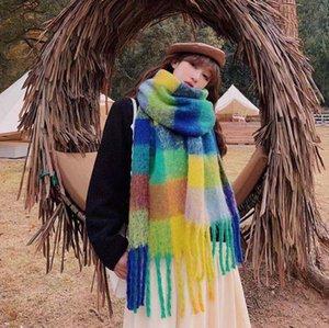 Симпатичные женские шарфы осенью и зима классический круг пряжи цвета, соответствующие дикой британской клетчатую негабаритную шаль 2021