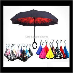 China Style Souvenir Folding Reverse Umbrella Multi Styles Double Layer Inverted Long Windproof Rain Car C Handle Umbrellas Auron Y7Ih9