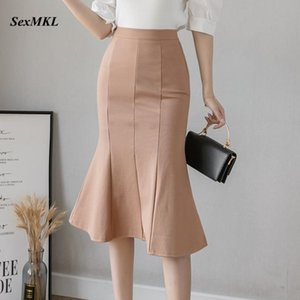 Elegant Elastic Plus Size Long Skirts Women 2021 Fashion High Waist Black Office Skirt Korean Clothes Vintage Party Midi