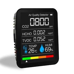 Analizadores de gas Medidor de CO2 portátil Temperatura digital Sensor de humedad Probador de calidad de aire Monitor Dióxido de carbono TVOC Formaldehyde Hcho Detection