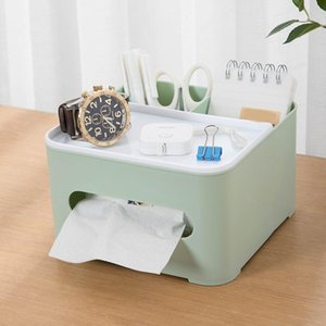 Tissue Boxes & Napkins Remote Control Box With Multi-Cells Multifunctional Desktop Stationery Organizer For Home Office