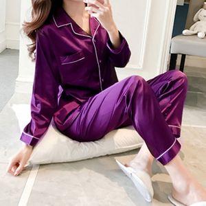 2021 Women's Pajamas Trouser Suits Sleepwear Satin Pajamas Sets Long Sleeve Homewear Women Sleepwear Faux Silk Pajamas Suit