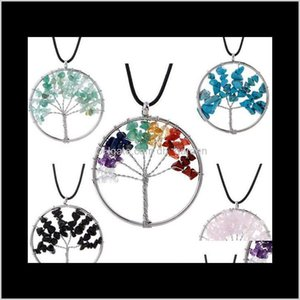 Necklaces Pendants Drop Delivery 2021 Luxury Natural Gemstone Jewelry Womens Leather Chain Rose Quartz Healing Crystals Tree Of Life Pendant