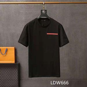 2021 Мужская футболка Мужчины S дизайнер шеи весенний летняя буква высокая улица свободная тенденция с коротким рукавом мужская одежда