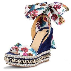 Zarif Çiviler Kırmızı Alt Takozlar Plafrom Sandalet Levantine Kadın Ayak Bileği Kayışı Yüksek Topuklu Düğün Kadın Gladyatör Sandal EU34-43