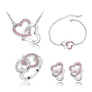Los juegos más nuevos del collar y el pendiente de diseño del corazón Material de cristal Material de la pulsera conjuntos de anillo de boda exquisitos Conjuntos de joyería 4022 9PFNU PRKK5 155 W2