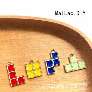 New 10pcs alloy oil dripping accessories Bracelet Tetris Earrings Pendant DIY handmade gifts