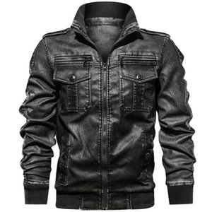 Mens Jackets Motorcycle Stand Collar Zipper Pockets Male Us Size Pu Coats Biker Faux Leather Fashion Outerwear