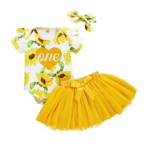 Baby Girl Pretty Dress Floral Print Bodysuit Toddler Pink Yellow Tulle Skirt Set Babys First Birthday Outfits Chic Bow Clothing Sets