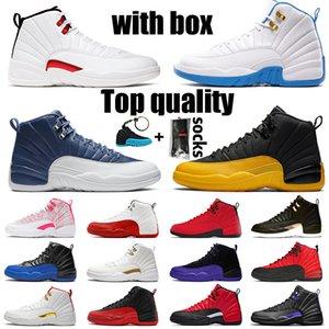 CON BOX retro 12 jumpman 12s XII scarpe di alta qualità di pallacanestro di Jumpman Womens Mens Sneakers bulls pietra blu del Università oro OVO Formatori
