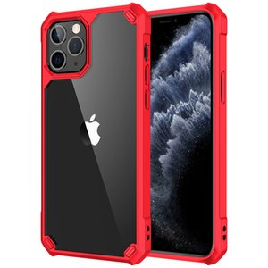 Rugged PC clear acrylic hybrid TPU shockproof mobile phone housings for iPhone XS 11 12 Pro Max bumper cellphone cases accessories