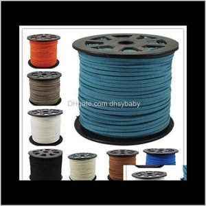 Wire & Components Drop Delivery 2021 16 Colors 95M M X 1Dot5Mm Multicolor Flat Faux Suede Korean Veet Leather Cord Diy String Rope Thread Lac