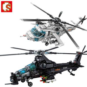 SEMBO Aircraft Z-20 Attack Helicopter Building Blocks Armed Soldiers Airplane Model Bricks Kids Toys For Birthday Gifts
