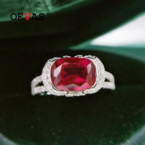 Cluster Rings OEVAS 100% 925 Sterling Silver 7*9mm Oval Ruby High Carbon Diamond For Women Sparkling Wedding Party Fine Jewelry Gift