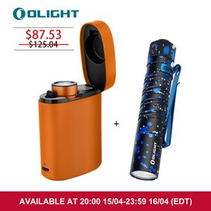 OLIGHT Rechargeable Flashlight Baton3 Premium Edition Orange 1200 Lumens with Customized Wireless Charger Bunble I5T EDC Stardust Light for Camping and Hiking