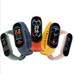 M6 Спортивный браслет Смарт-часы Мужчины Фитнес Трекер Браслеты Женщины Сердцетеры Артериальное давление Водонепроницаемый Для Android iOS PK MI Band 6