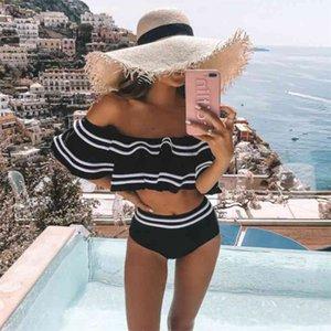 black striped women bikini set two pieces sexy off shoulder ruffles high waist bathing suits summer beach swimsuits 210510