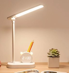 Creative Pen Holder with Clock Eye Protection Desk Lamps for Student Dormitory Study Large Capacity Super Long Endurance Lamp