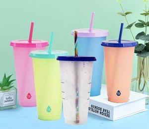 Творческие водяные тумблеры чашки PP материал, чувствительный к температуре пластиковый цвет, меняющая холодная солома