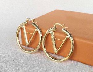 2021 Золотые серьги обруча для леди Женщины Вечеринка Свадебные Любители Подарочный Подарок Ювелирные Изделия Невеста с коробкой