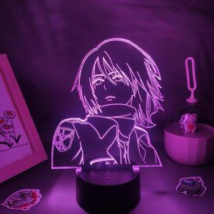 Night Lights 3D Lava Lamp Manga Mikasa Ackerman Attack On Titan Anime Figures Led RGB Neon Battery Bedroom Table Decor For Home