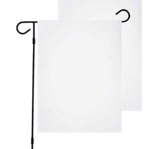 30 * 45cm DIY SUBLIMATION Drapeau de jardin 100% polyester Blanc Blanc Bannières Flage Double côtés Chaleur Transfert de chaleur Gardens Bannière