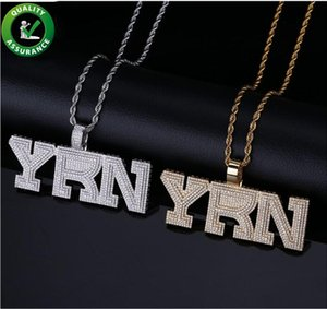 Iced Out Pendant Hip Hop Luxury Designer Jewelry Mens Diamond Rapper YRN Bubble Letter Pendants for Men Women Kids with Rope Chain Fashion