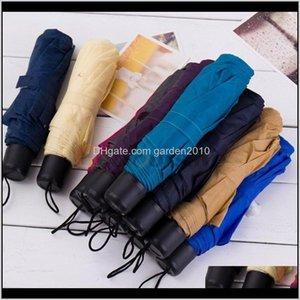 Umbrellas Portable Alloy Foldable Couple Short Handle Umbrella Mini Uv Protection Compact Sun 3 Fold 6Hy5F Qcmae