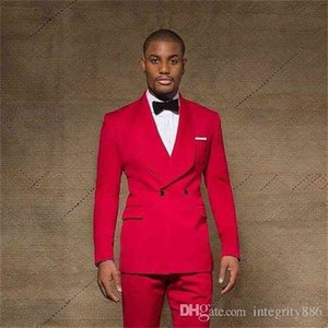 Slim Fit Red Groom Tuxedos Groomsmen Shawl Lapel Double Breasted Best Man Suits Mens Wedding Suits (Jacket+Pants+Bows Tie)