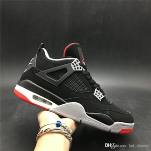 Air 4 OG Bred 308497-060 2019 Black Red 4s IV Kicks Men Sports Shoes Casual Sneakers Good Quality Trainers Kicks With Original Box