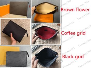 4 Colors High Quality Men's and Women Clutch Bags Travel Toiletry Pouch 26 cm Protection Makeup bag Lady Leather Waterproof Cosmetic For men With DustBag
