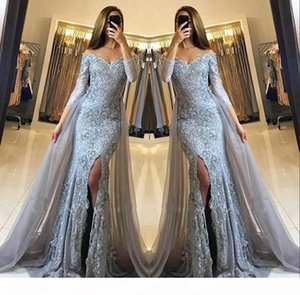 Front Split Off The Shoulder Mermaid Prom Evening Party Dresses with OverSkirt Lace Appliques Newest Sweetheart Long Sleeves Pageant Gowns