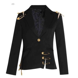 Patchwork Lace Up Kadın Blazer Çentikli Uzun Kollu Ince Zarif Kadın Takım Elbise Sonbahar Moda Yeni