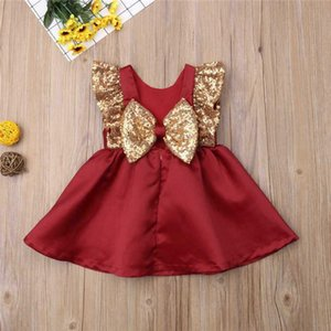 ABD Güzel Toddler Bebek Kız Pullu Ilmek Elbise Düğün Prenses Elbise 50 Z2