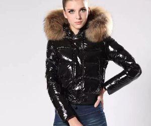 New Fashion m Brand Glossy Jacket Winter Women Dress Down Real Raccoon Fur Coat Detachable Collar Hood Parkas Celebrity