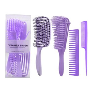 Hair Brushes P8DD 4pcs Anti-Static Comb Detangling Brush Scalp Massage Wide Tooth Tail Combs Hairdressing Styling Tools For Salon Home