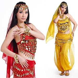 Belly Dance Costumes Set Beaded Bell Tank Top+sequins Lantern Pants+128 Coins Hip Belt+head Chain+head Scarf 5pcs Full SF63 Stage Wear