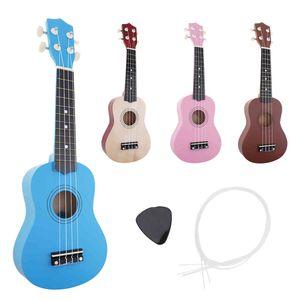 21 Inch Soprano Ukulele Beginners Children Christmas Gifts Hawaii Four String Guitar +String+Pick