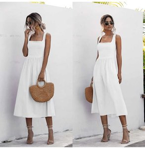 Dresses Women Long Skirt Summer Sexy Backless Casual White Black Sneakers Midi Overgooiers Ladies Spaghetti Vestido Clothing