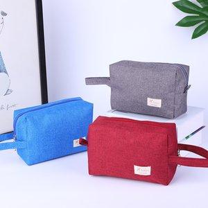 Portable Cosmetic Bag Hanging Waterproof Travel Toiletry Organizer Pouch Soild Color Large Capacity Handbag 19*13cm for Men Women