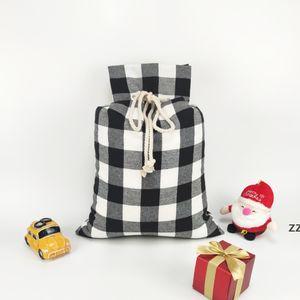 Christmas Gift Bags Xmas Red and black Plaid Drawstring Pockets Santa Sacks Festival Storage Bags 50*70cm HWD10445