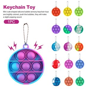 Fidget Toy Reliver Stress Key Chain Push It Bubble Antistress Toy Child Adult Sensory Autism Relief for Kids Colorful Round