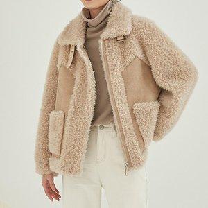 Women's Fur & Faux Solid Color Sheep Shearling Short Coats Female Composite Wool Jackets Lambswool Warm Outwear Winter 2021