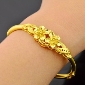 Solid Flower Bangle Yellow Gold Filled Wedding Womens Bracelet Jewelry Openable